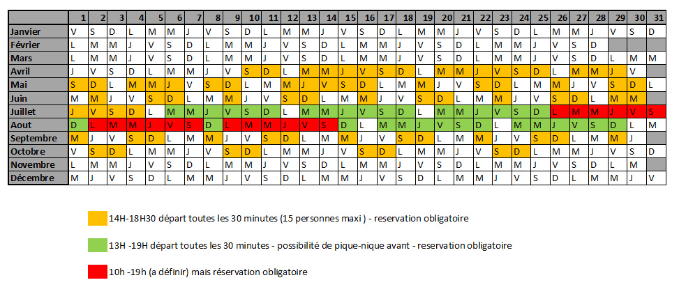calendrier horaires accrobranche 2021